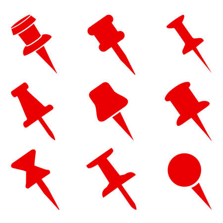 Set push pin sign icons for web site, page and mobile app design element. Push pins pinned in different angles - vector
