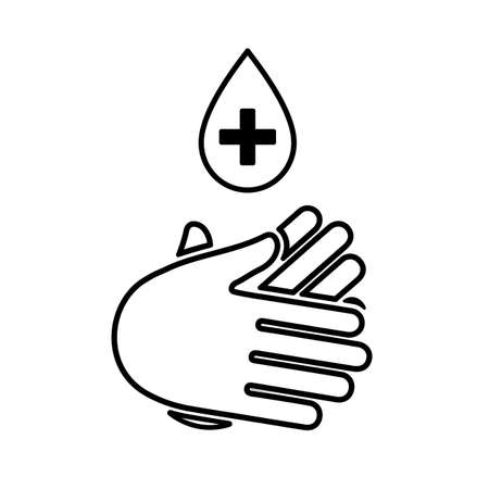 Safe wash hands icon. Hand with drop cross isolated sign. Antiseptic icon, hand sanitizers. Hygiene symbol, sign of washing hands - stock vector Illusztráció