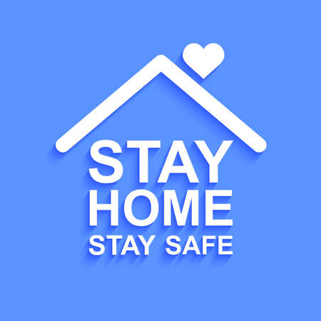 Stay home stay safe slogan with house icon. Protection campaign or measure from coronavirus, COVID-19. Stay home quote text, hashtag sign - stock vector Illusztráció