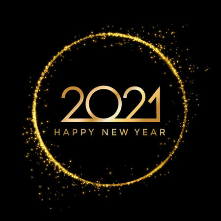 2021 golden New Year in golden sparkling ring with dust glitter on dark background, Happy New Year decorative shiny design for award celebration - stock vector