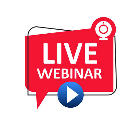 Live Webinar button icon, emblem label. Online webinar communication, internet web conference, distance education, online course, video lecture, work from home icon - stock vector Illusztráció