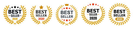 Set best seller icon design with laurel, best seller badge isolated - stock vector Illusztráció