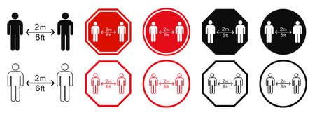 Set keep distance sign. Coronavirus epidemic protective equipment. Preventive measures. Steps to protect yourself. Keep min the 2 meter distance Illusztráció