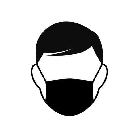 Man wearing medical face mask icon, protecting themselves against pandemic epidemic infection. Coronavirus - COVID-19, virus contamination, safety breathing mask. Disposable medical mask Ilustracje wektorowe