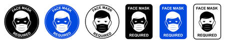 Face mask required. Attention do not enter without a face mask. Human wearing medical mask icon, protecting themselves against infection. Coronavirus - COVID-19, virus contamination, pollution.