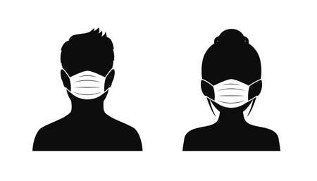 Man and woman wearing medical masks, protecting themselves against pandemic epidemic infection. Coronavirus - COVID-19. Disposable medical mask icon