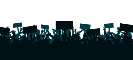 Set hands up revolution. Silhouettes of crowd of people with raised up hands and flags. Protest, revolution, strike, demonstration concept. Political, human rights protest, power and solidarity Иллюстрация