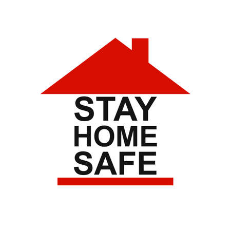 Stay home stay safe slogan with house icon. Protection campaign or measure from coronavirus, COVID-19. Stay home quote text, hashtag sign - vector for stock