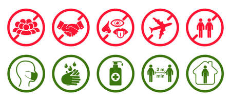 Ð¡orona virus set infographic icons. Concept with protective safety measures and precautions warning signs antivirus icons related to coronavirus, 2019-nCoV, COVID-19 infection