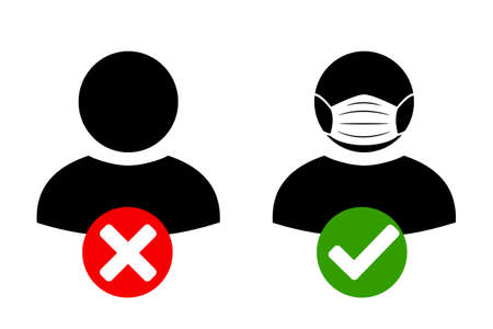 No entry without face mask icon. Wearing medical masks, protecting themselves against pandemic epidemic infection. Coronavirus - COVID-19, virus contamination, pollution, antivirus.