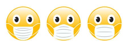 Emoji yellow face icon wearing respirator or face medical mask. Coronavirus - COVID-19, virus contamination, pollution, antivirus. Disposable medical mask icon. Contagious disease - stock vector