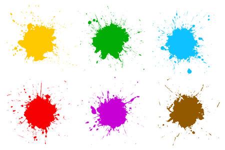 Set different colorful splash, brush strokes - stock vector