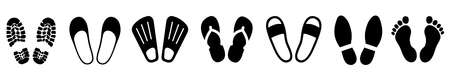 Set shoeprints, barefoot, flutter - for stock Иллюстрация