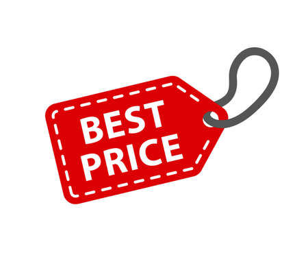 Best price tag. Red paper labels - stock vector Иллюстрация