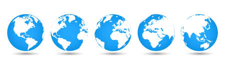 Set 3D Globes with World Maps - for stock