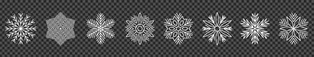Set snowflake line icons, ice crystal snowflakes - stock vector