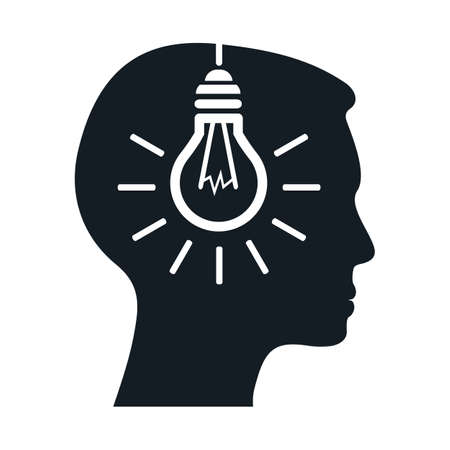 Idea, creative concept with man and bulb - for stock