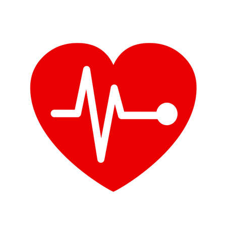 Pulse in heart sign - stock vector