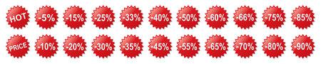 Set red discount percent - for stock vector Ilustração Vetorial