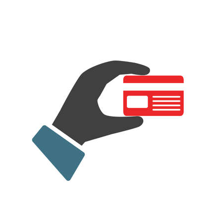 Hand holding debit credit card. The hand holds a bank card - stock vector