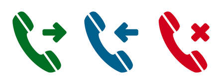 Set incoming, outgoing, missed call phone icon. Answer and decline phone call buttons - stock vector Ilustração Vetorial