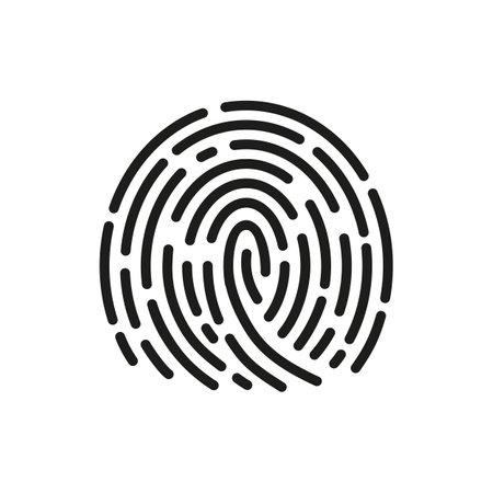Fingerprint scanning icon sign - vector