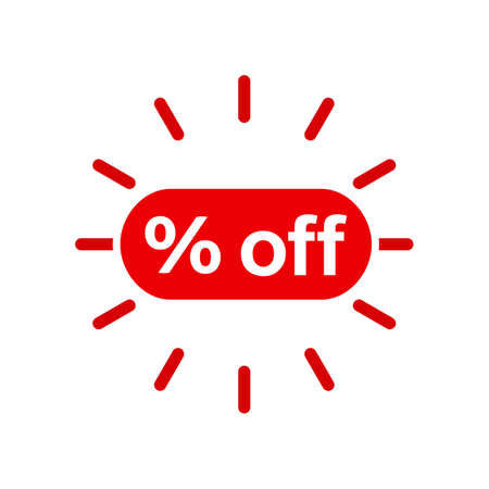 Red icon rate off, discount - stock vector