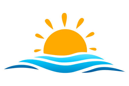 Seascape, blue sea and sun, summer sign - vector
