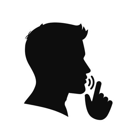Quiet, please. Keep silence symbol. Keep quiet sign - vector Ilustracja