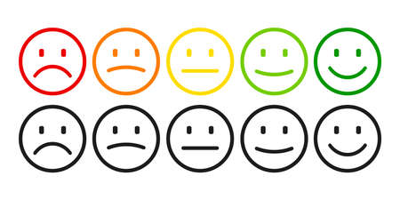 Valuation by emoticons from negative to positive, set emotion. Rank, level of satisfaction rating. Excellent, good, normal, bad awful. User experience Review of consumer - stock vector
