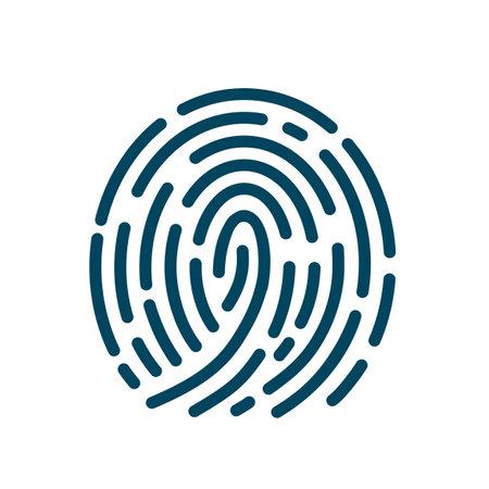 Fingerprint scanning icon sign - for stock