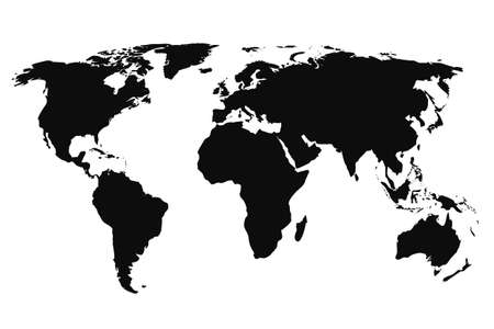 Black World Map, continents of the planet - stock vector Иллюстрация