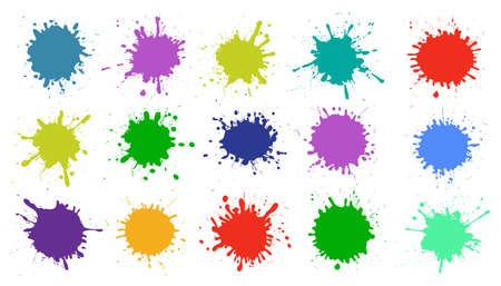 Set different splash, brush strokes - vector