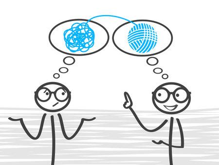 Coach, problem solving, success, order, improvement - stock vector Ilustração