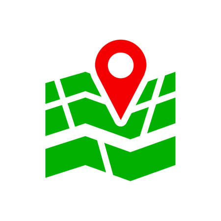 Red GPS navigator location on city map icon - for stock