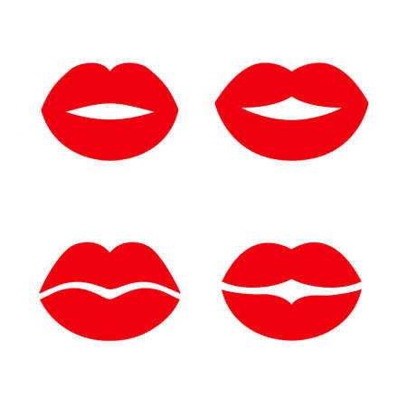 Red imprint kiss lips set icons - stock vector
