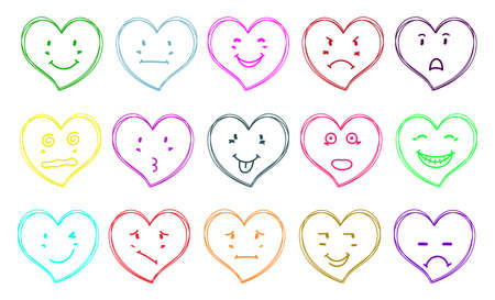 Set of funny hearts emotion painted by hand - stock vector