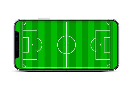 Soccer field in smart phone - stock vector