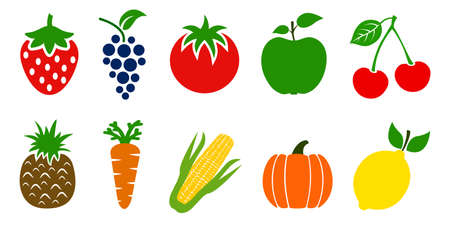 Set of fruits and vegetables icons. Variety products, healthy food collection of strawberry, apple, pineapple, cherry, grape, tomato, carrot, maize, pumpkin, lemon - stock vector