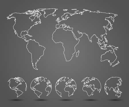 Earth set one line Globes with World Map - stock vector  イラスト・ベクター素材
