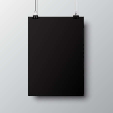 Blank posters hanging with shadows. Hanging black paper on binders. A4 paper page, mockup, sheet on wall - vector