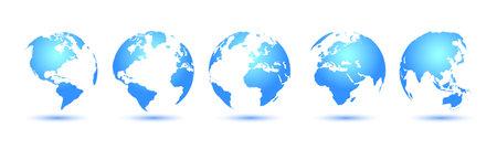 Earth set 3D Globes with World Maps - stock vector Иллюстрация
