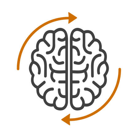 Human brain with arrows, creative, brainstorming icon - vector
