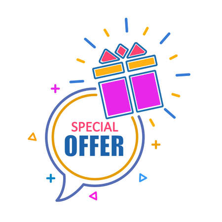Speech bubble banner special offer with gift box, sale discount icon - stock vector