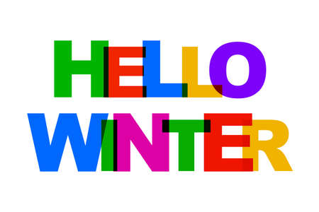 Hello Winter colorful overlapping letters icon - stock vector Иллюстрация