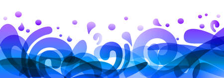 Blue background design illustration, summer colorful banner splash and waves in water abstract shape - for stock