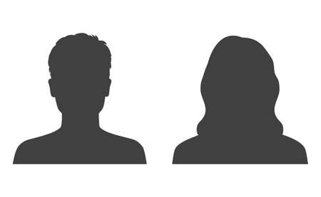 Man and woman head icon silhouette. Male and female avatar profile, face silhouette sign - stock vector