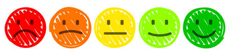 Set drawn colored faces emoticon, cartoon emoticons - vector