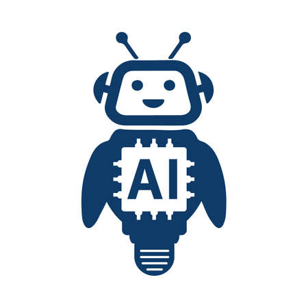 AI Artificial intelligence technology cartoon robot - for stock Иллюстрация