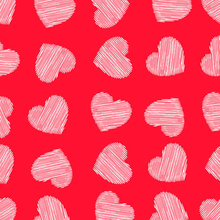 Beautiful hand drawn seamless red heart background - vector